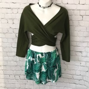 Tops - Wrap top in olive green Women's size XS EUC